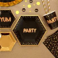 Glitz & Glamour Black & Gold Medium Party Plates (8)